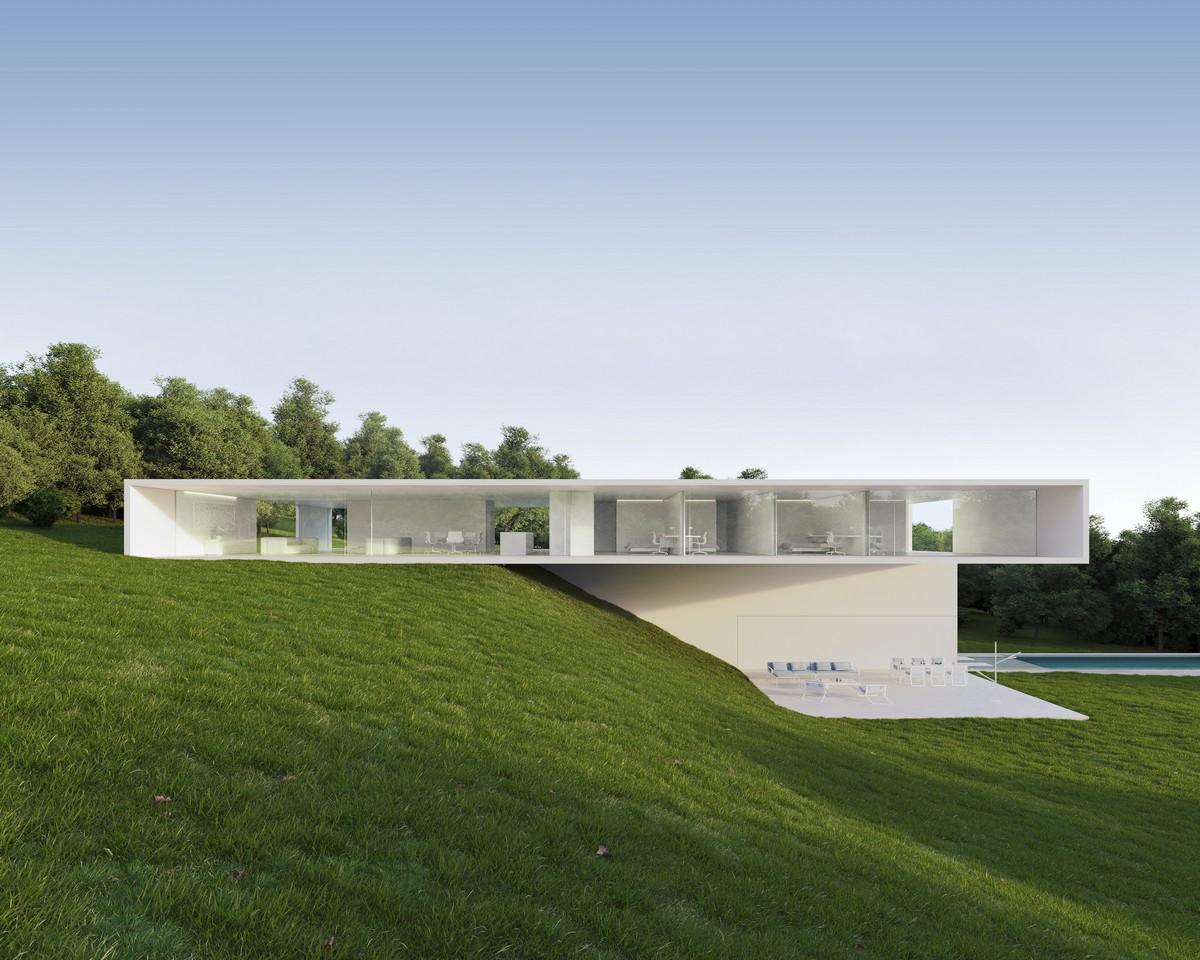 Минималистский дом на склоне в Испании