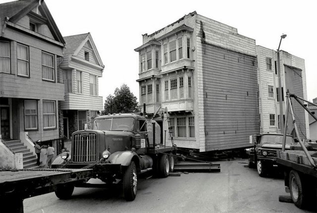 Перевозка викторианских домов целиком в 1970-е