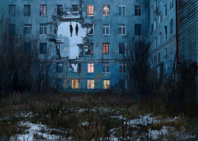 Жуткие и путающие миры, созданные австрийским художником