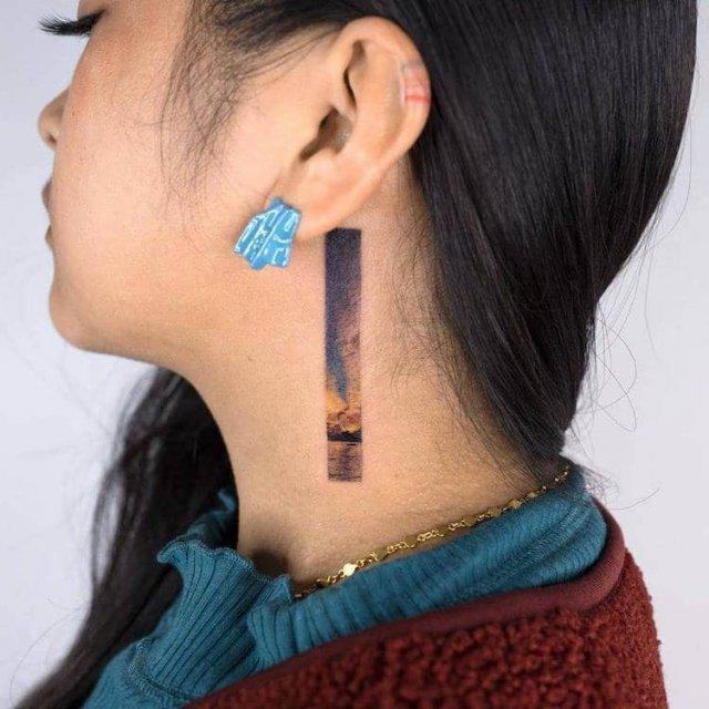 Прямоугольные татуировки от южнокорейской тату-художницы