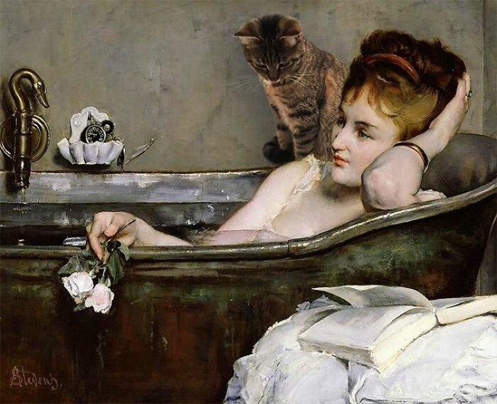Художница добавила кошек на картины старых мастеров