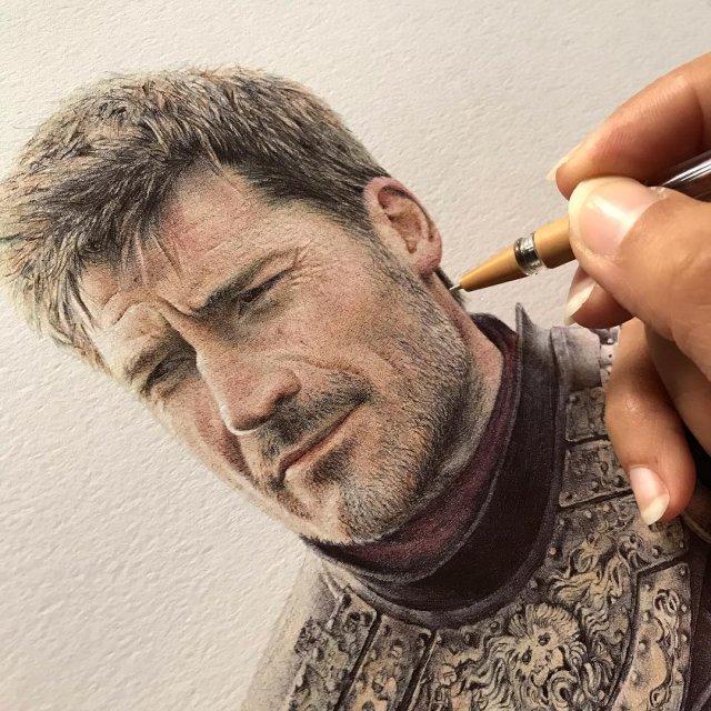 Реалистичные портреты с помощью шариковых ручек