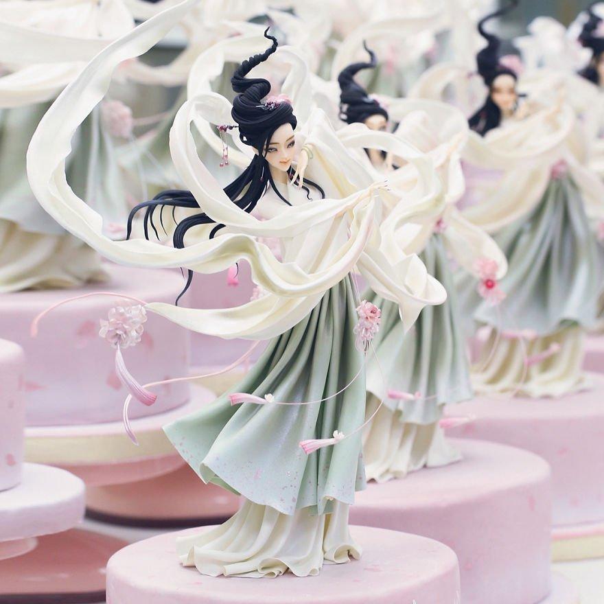 Невероятные украшения для тортов от китайского кондитера