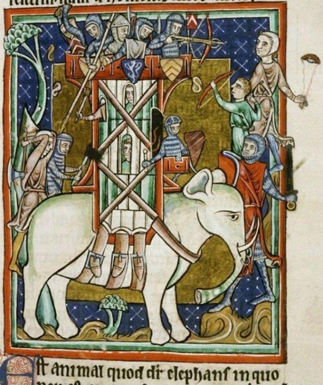 Как художники Средневековья изображали слонов