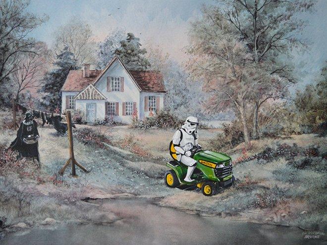 Художник дополняет старые картины персонажами поп-культуры
