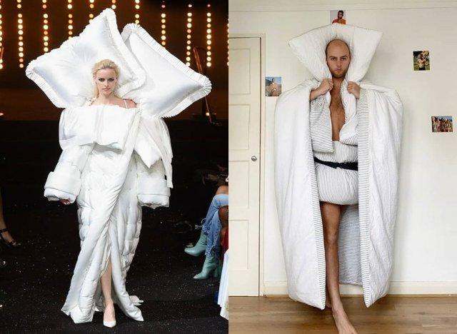 Люди на карантине имитируют нелепые наряды с модных показов