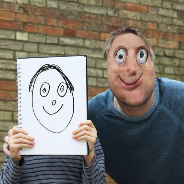 Отец превращает рисунки детей в фантастических существ