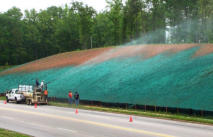Чем зеленым дорожные работники покрывают газоны?