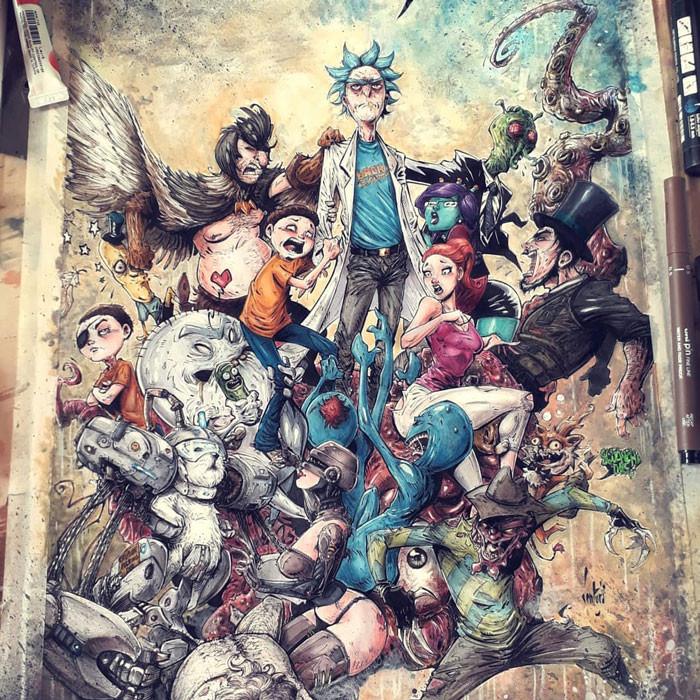 Художник перерисовывает персонажей поп-культуры в стиле жутких комиксов