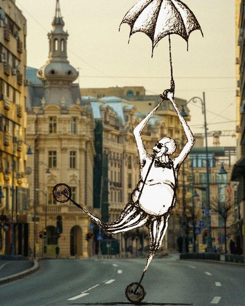Румынские художники вдохнули немного жизни в пустые городские улицы