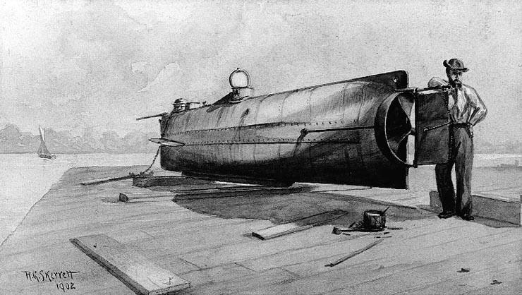История первой в мире боевой подводной лодки