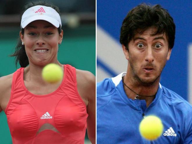 Суровые и напряженные лица в большом теннисе
