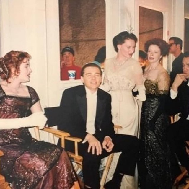 Кадры съемок фильма Титаник с Леонадро Ди Каприо и Кейт Уинслет