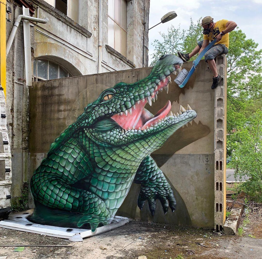Реалистичный 3D стрит-арт от французского художника