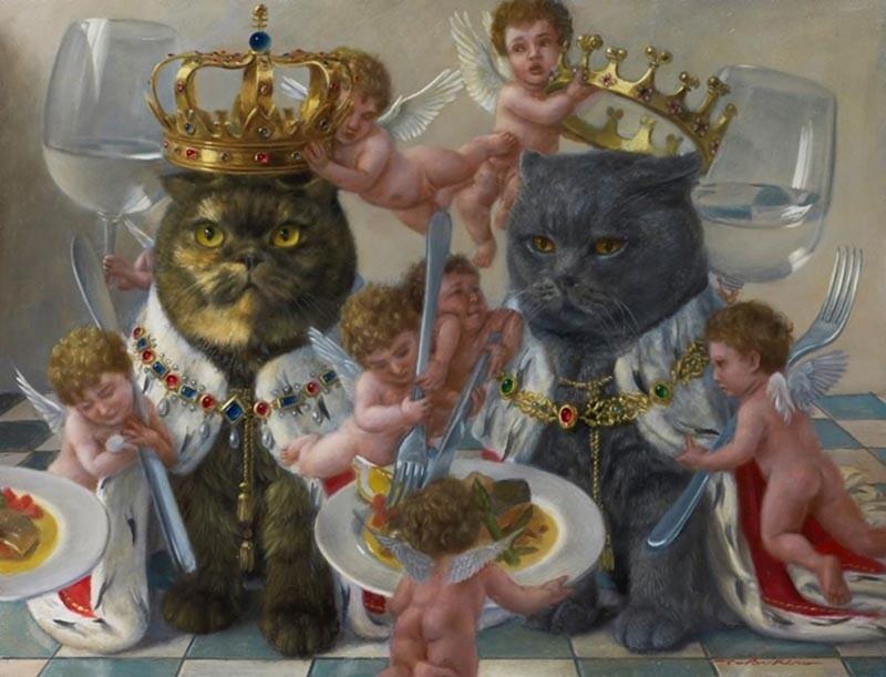 Величественные коты на картинах японского художника Токухиро Каваи