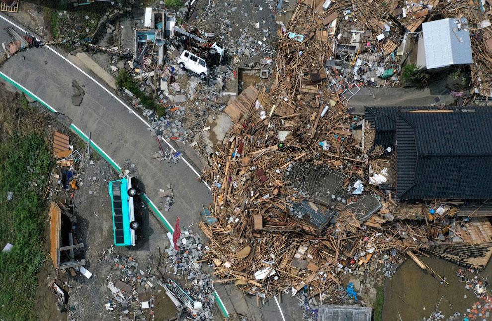 Проливной дождь и наводнение в Японии 2020 (ФОТО)