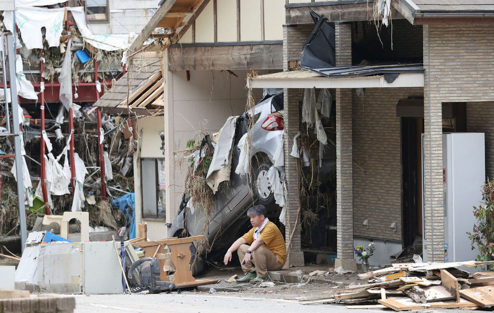 Проливной дождь и наводнение в Японии 2020