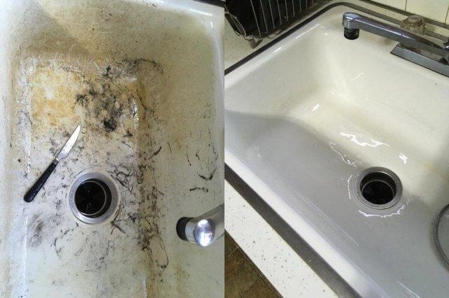 Разные старые вещи до и после чистки на снимках