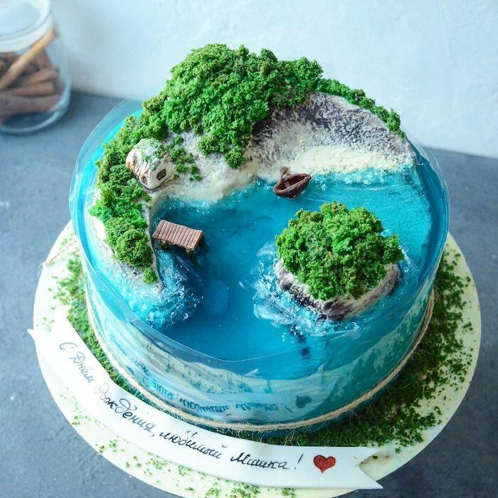 Тортики в виде островов, которые жалко есть