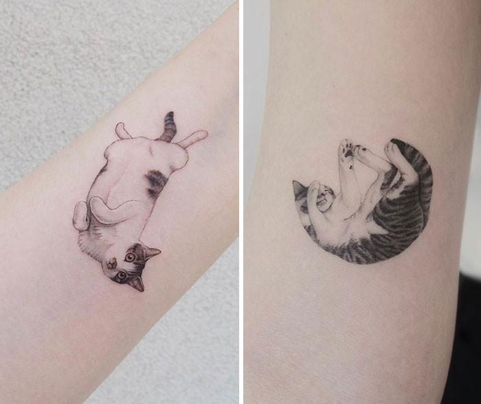 Разные крутые татуировки с котиками