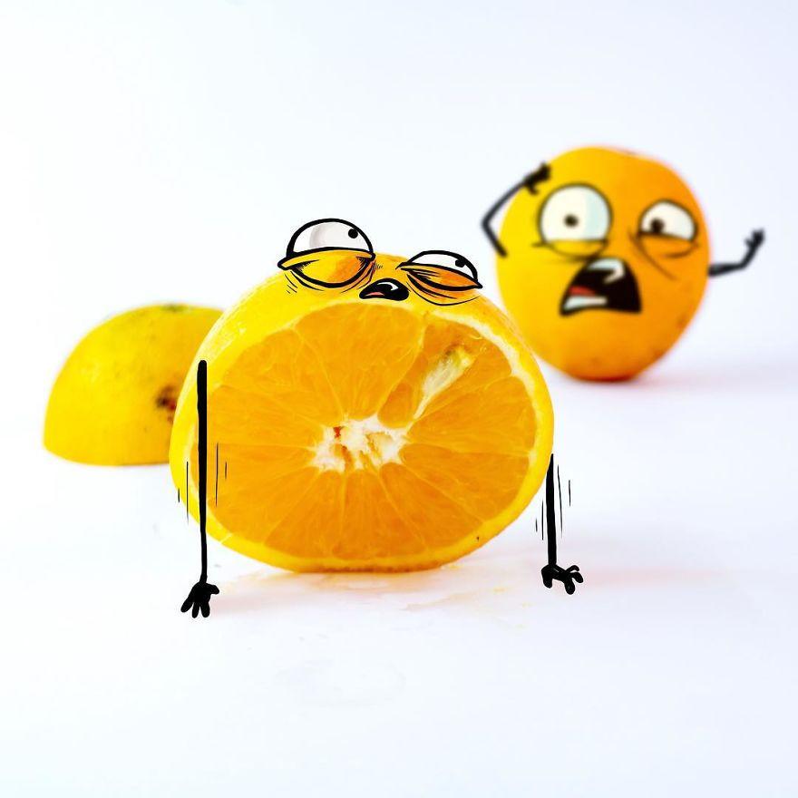 Жуткие эмоции фруктов с пририсованными лицами