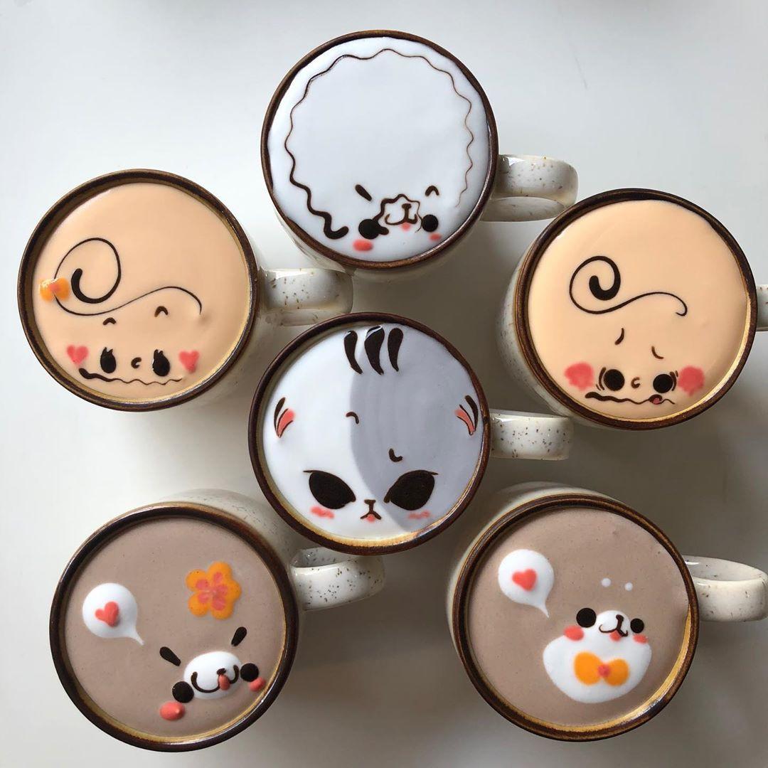 Южнокорейский бариста рисует персонажей поп-культуры на молочной пенке