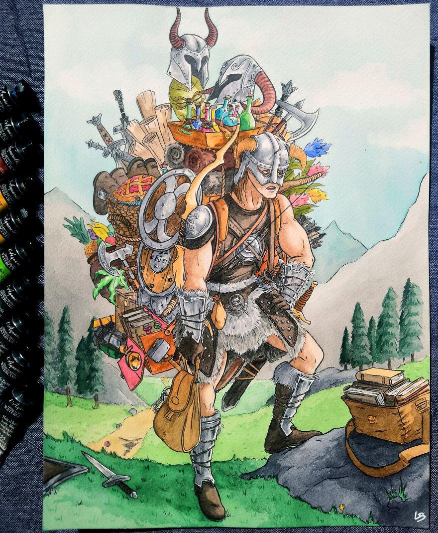 Художница изобразила персонажей видеоигр с полным инвентарём