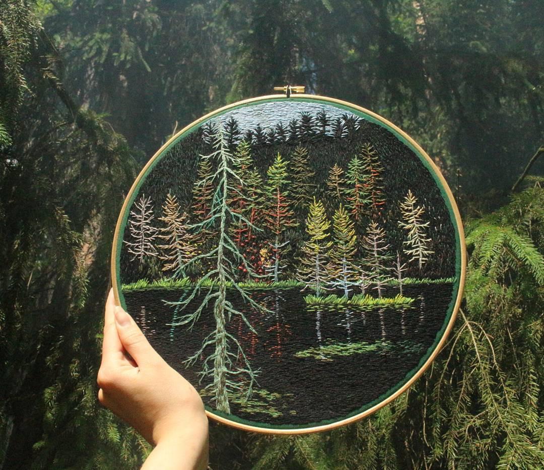Вышитые пейзажи от Юры Гриц