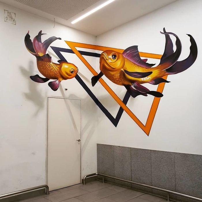 Удивительные 3D-граффити от португальского уличного художника