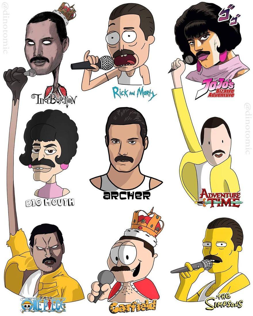 Знаменитости и популярные персонажи в различных мультяшных стилях