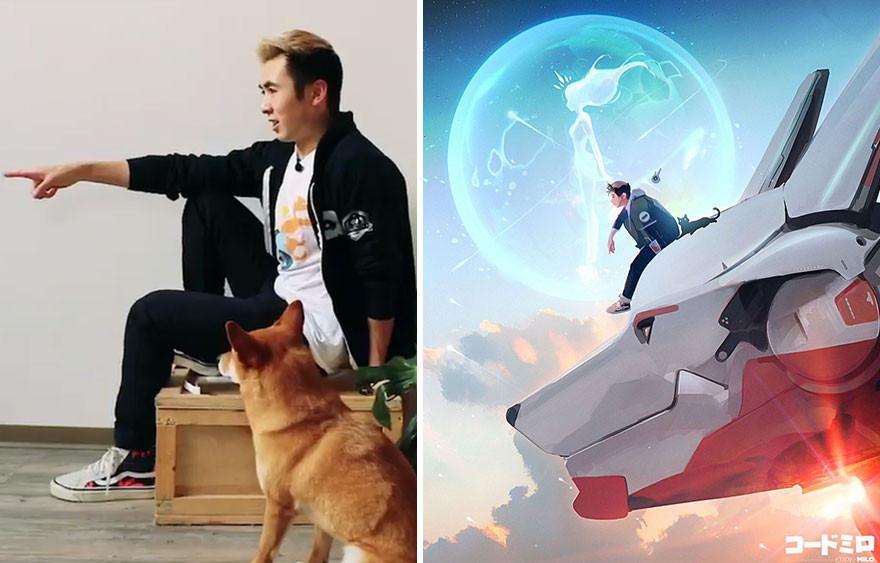Цифровой художник превращает себя и свою собаку в мультперсонажей