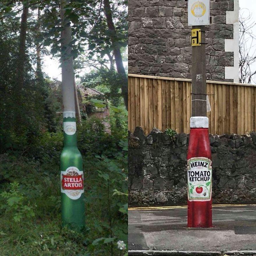 Работы уличного художника взаимодействуют с окружающей средой