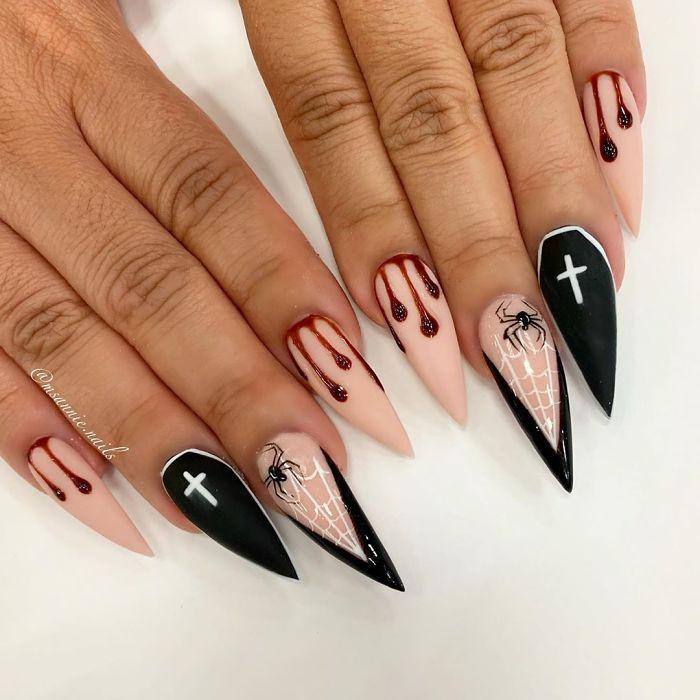 Яркий хэллоуинский дизайн ногтей