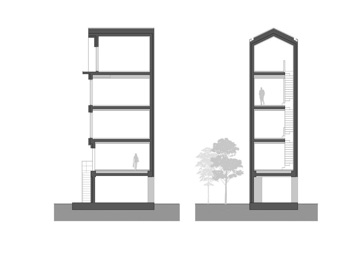 Вертикальный узкий дом в Южной Корее