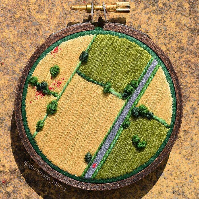 Пейзажи с высоты птичьего полёта в вышивке