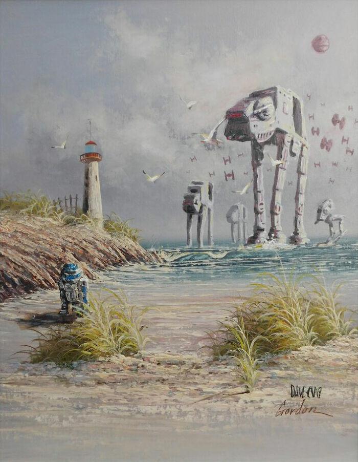 Художник добавляет на старые картины элементы поп-культуры