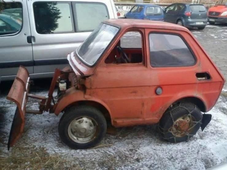 Креативный снегоуборочный транспорт