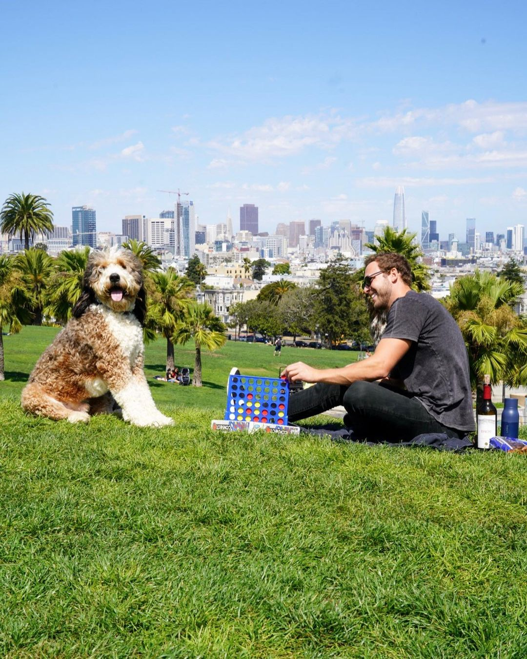 Американец и его пушистый пёс делают всё вместе