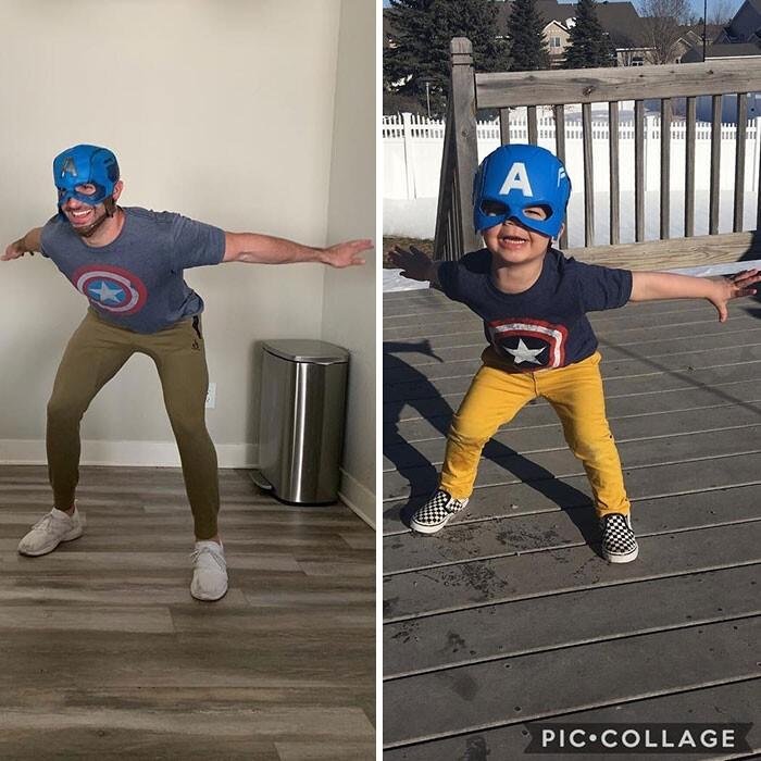Мальчик копирует своего дядю, и это необычный семейный косплей