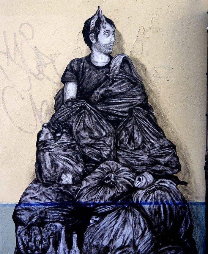 Уличные рисунки художника Levalet взаимодействуют с окружающей средой