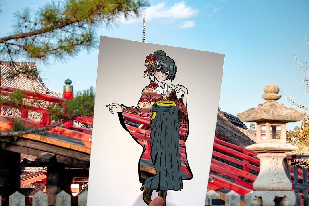 Японская художница раскрашивает силуэты с помощью окружающего мира