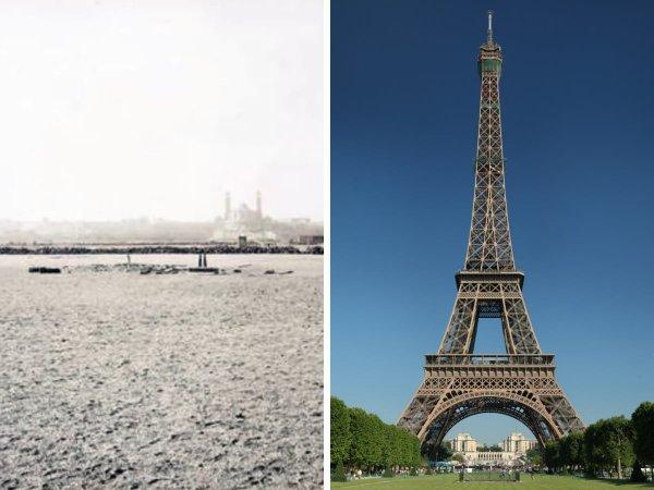 Места знаменитых на весь мир сооружений до и после строительства
