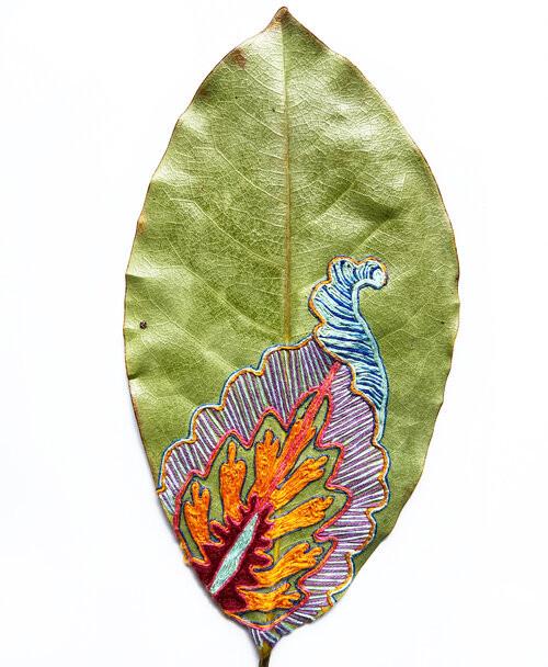 Вышивка превращает листья в произведения искусства