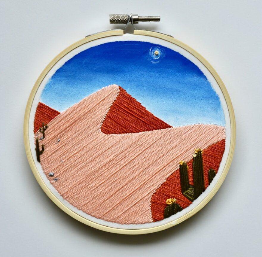 Необычные вышитые пейзажи от художницы из США