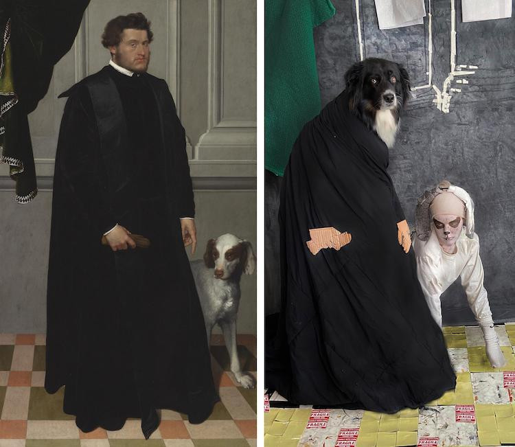 Художница воссоздаёт известные картины вместе со своей собакой