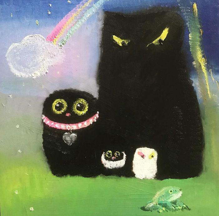 Художница делает своих кошек частью произведений искусства