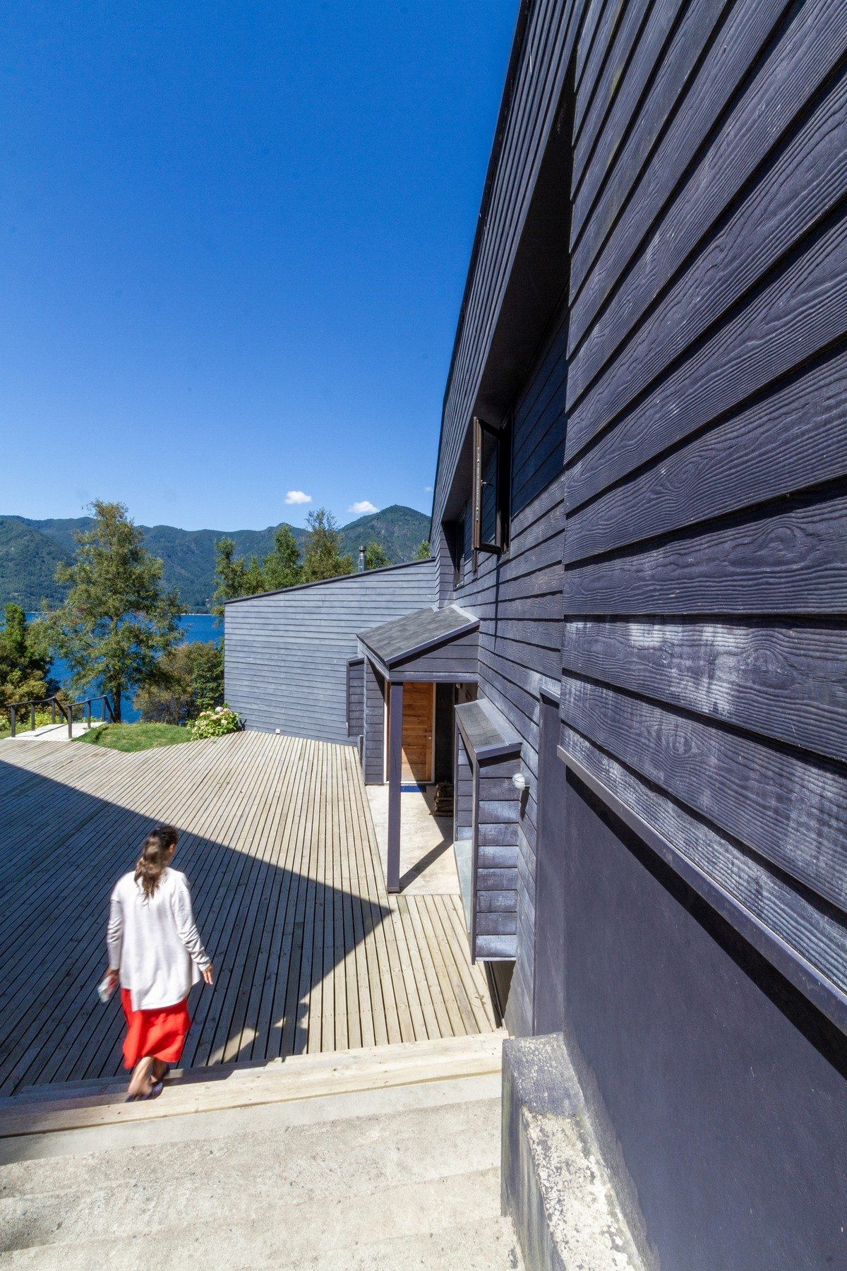 Два деревянных дома на берегу озера в Чили