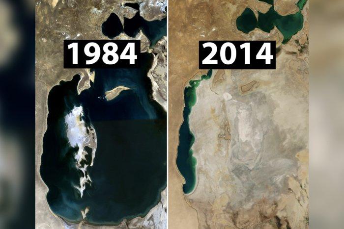 Куда исчезло Аральское море - большой водоем на границе Казахстана?