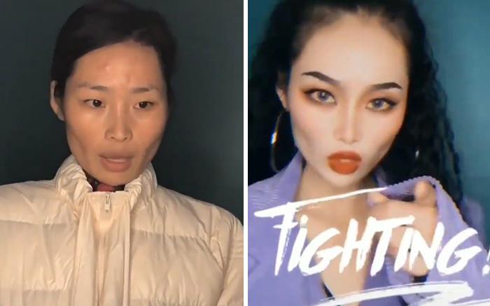 Обманчивый азиатский макияж на снимках: до и после