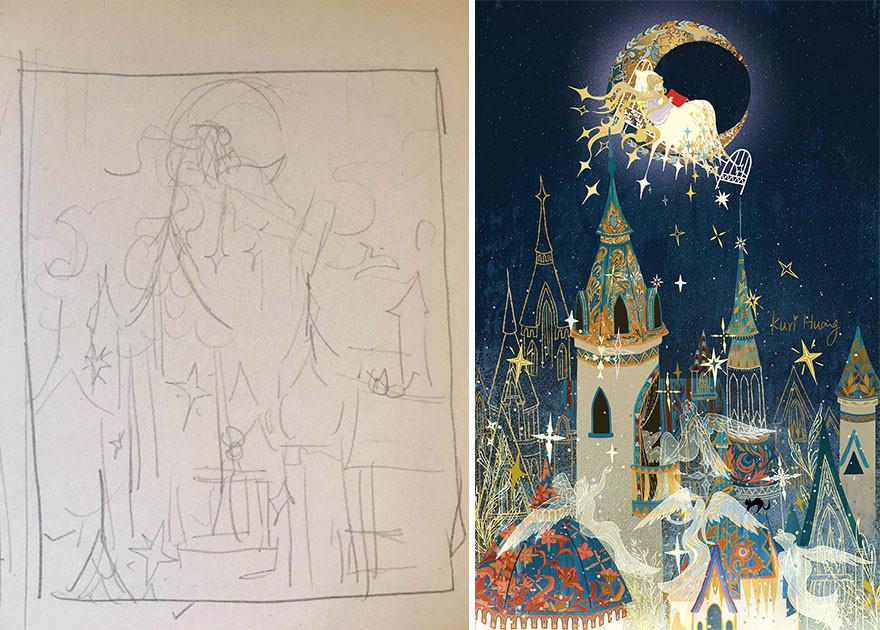 Художники показывают, что набросок и картина - это две большие разницы